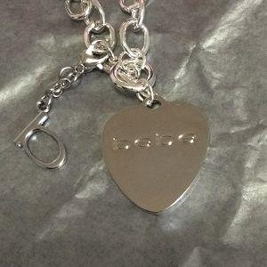 Bebe Silver Heart Bracelet